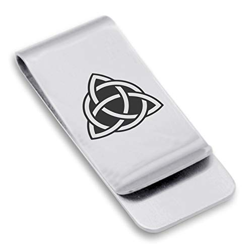 Comfort Zone Studios Stainless Steel Celtic Triquetra Trinity Knot Classic Slim Money Clip Credit Card Holder, Silver