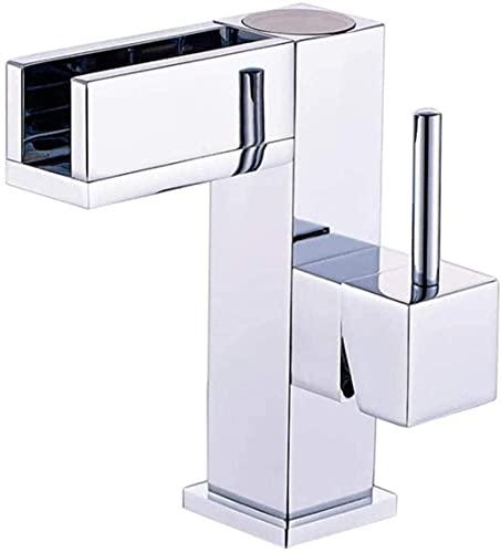 Baño LED Control de temperatura grifo fregadero cobre cascada caliente y fría lavabo grifo luz