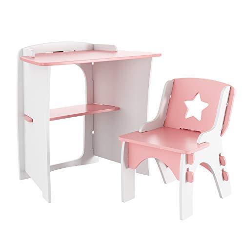 HOMECHO Schreibtisch für Kinder Kinderschreibtisch mit Stuhl Kindertisch mit Regal für Kinder von 3-12 Jahren DIY Spaß Baukasten Screwless Installation BHT 62×60×40 cm