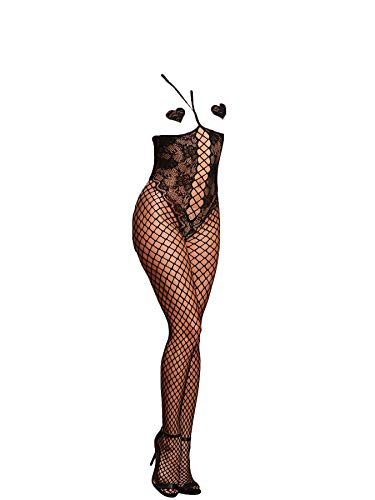 Sexy Damen Open Cup Crotchless Fishnet Bodystocking Schwarz Bodysuit Reizwäsche Dessous Catsuit Netz Strumpfhose Babydoll