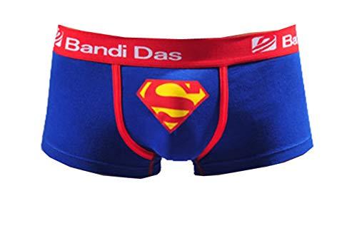 Colorfulworldstore 2 Packs Lycra Cotton Men s Briefs Boxer Underwear with Superman Pattern Printing Blue