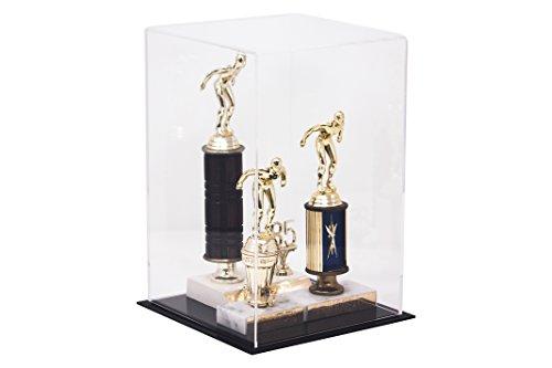Versátiles fundas de acrílico con base negra vendida – cubeta, cubierta de polvo o elevador – todo en un producto, Transparente de 20,32 x 20,32 x 30,48 cm (8 x 8 x 12 pulgadas)