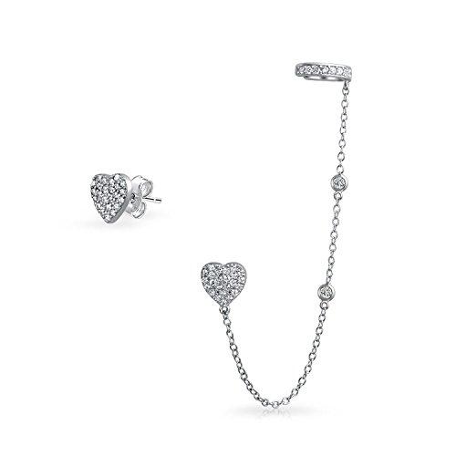 Cadena en forma de corazón Cartílago oído esposa wrap pendientes pavé CZ Stud Helix Pendiente Stud Set 925 plata de ley