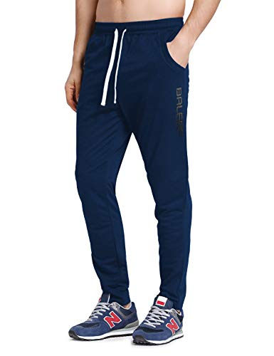 BALEAF Men's Tapered Athletic Running Pants Joggers Lounge Workout Sports Sweatpants with Pockets Navy Size M