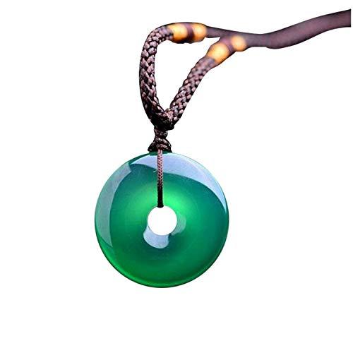 Collar de cuerda con colgante de jade natural de color verde