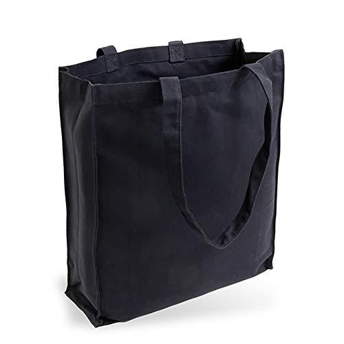 Cottonbagjoe Bolsa de yute de tela vaquera (muy resistente y resistente), sin estampado con pliegues laterales y en la base y dos asas largas, 38 x 42 x 10 cm, color negro