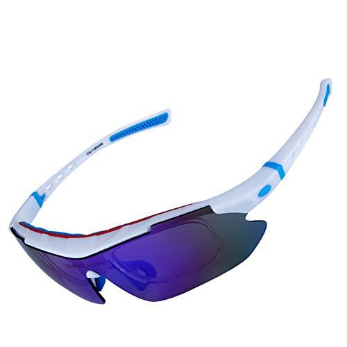 OPEL-R Lunettes de soleil 5 verres polarisés en matériau TR90 résistant aux chocs pour tour en vélo en plein air sport à la mode, white red