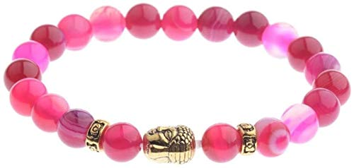 Plztou Pulsera de Piedra Mujer, 7 Chakra Perlas de Piedra Natural Rosa turmalina Brazalete elástico Reza Buddha Cabeza joyería Yoga energía Equilibrio Reiki Encanto Regalo para Hombres