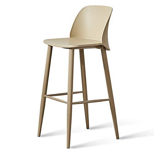 JHBY-chair Taburete Alto de Hierro, Asiento Original de plástico PP, Altura 74 cm (29 Pulgadas), Silla Hecha a Mano, Adecuada para Bares, Salones, cafeterías, hogar (Caqui)