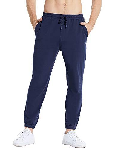 "BALEAF Men's 27"" Cotton Lounge Casual Pants Lightweight Joggers Sweatpants Workout Pocketed Pajamas 7/8 Length Navy Size L"