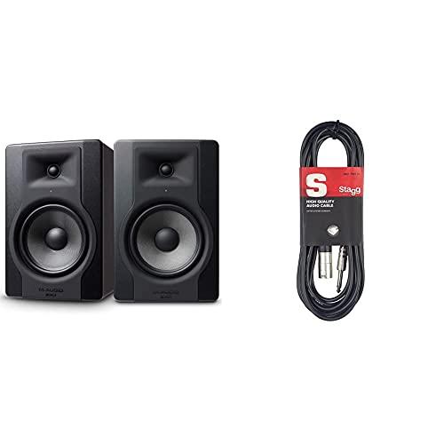 """M-Audio Bx8 D3 Pair – Par De Monitores/Altavoces Activos De Estudio Bidireccionales, 150 W con Woofer De 8"""" para Producción Musical Y Mezcla De Música + Stagg Sac3Pxm DL Cable XLR"""