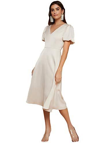 SheIn Women's Elegant V Neck Puff Sleeve High Waist Zip Back A Line Midi Satin Dress Beige Medium