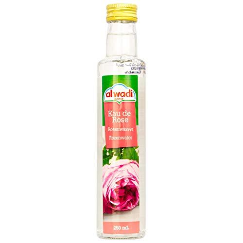 Al Wadi - Orientalisches Rosenwasser ideal zum Backen und Kochen - Blütenwasser zur Aromatisierung von Süßspeisen, Backwaren und Getränken in 250 ml Glasflasche