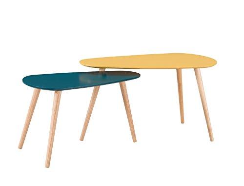 Alsapan Galet Lot de 2 Tables Basses Gigognes Scandinave Vintage Moutarde et Bleu foncé Piétement en Hévéa Massif 81,5 x 41 x 45,5 cm et 68 x 34 x 40,5 cm