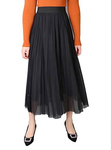 A-Line Falda Plisada,Mujer Color Sólido Elástico Cintura Alta Midi Falda,Gasa Básico Casual Dobladillo Fluido Vestido Primavera El Verano Vestir para Mujeres,Negro,One Size