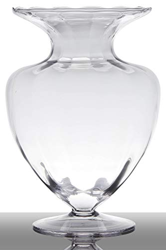 INNA-Glas Bodenvase Glas Kendra auf Standfuß, Trichter - rund, klar, 33cm, Ø 23,5cm - Pokal Vase - Amphore Vase