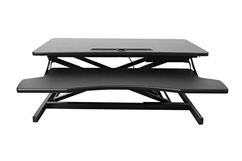 Ribelli Höhenverstellbarer Schreibtischaufsatz - passend für Zwei Bildschirme, Tastaturablage - Gasdruckfedern - Schreibtisch höhenverstellbar 11 bis 52 cm