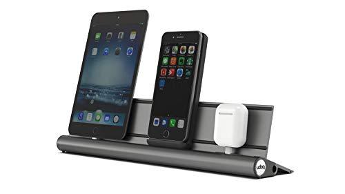 udoq 400 Ladestation für alle Handys, hochwertiges Design 4mm Aluminium, Wireless und Kabel für Apple iPhone Android Samsung Huawei, dunkelgrau
