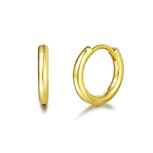 Orecchini a Cerchio Piccoli per Donna in Argento Sterling 925 Placcato Oro Giallo - Diametro: 13 mm