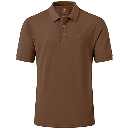MoFiz Herren Poloshirt Kurzarm Baumwolle Polohemd Sport Polo Sommershirts Atmungsaktiv Erdgelb L