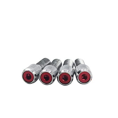 Wishful 5 Tornillos + 2Keys M14x1.5 Pernos de Bloqueo de Ruedas de aleación Automotriz Cerrado 14x1.5 Lugs Nuts Kit Lock Fit para Volkswagen Audi Seat BMW Chrome
