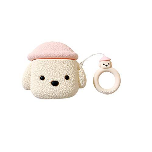 Teddy Dog Puppy Kopfhörer-Tasche für AirPods 1/2, Creamon Cute Teddy Dog Puppy Kopfhörer-Tasche für AirPods 1/2 Silikon-Schutzhülle für AirPods mit Ringschlaufe Weiß + Ring