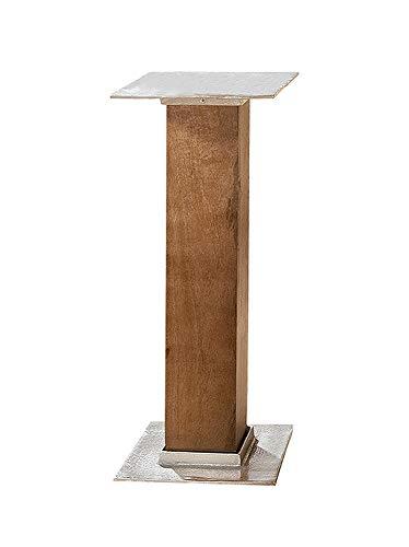 GILDE Holzsäule mit Alu Platte - aus Mangoholz H 52,5 cm B 27,5 cm T 27,5 cm