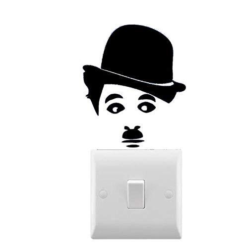 HOHHJFGG Calcomanía de pared Chaplin inspirada pequeña pegatina para interruptor de luz extraíble artista hogar interruptor de luz decoración calcomanía 8X7 cm