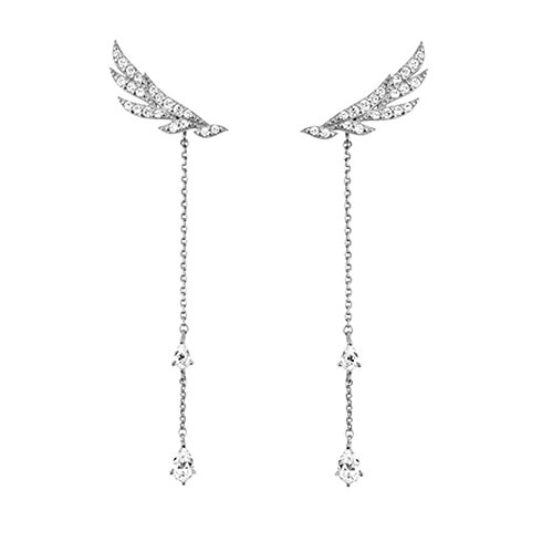 Hanie Women Earrings Long Angel Wing Tassels Dangle Earings 925 Sterling Silver White Teardrop Cubic Zirconia Elements Crystal can wear as Stud/Long Drop Earrings