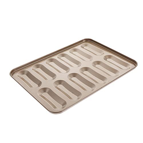 SOLUSTRE Brot Backofen Form Carbon 12- Cavity Mini Hot Dog- Geformt Muffin Backformen Non Stick Twinkie Kuchen Pan Cookie Backblech für Ofen