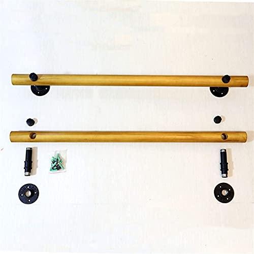 Pasamanos de escalera de madera sólida antideslizantes, barras de soporte de seguridad de corredor ancianos, interior, ático, soporte de acero inoxidable Pasadoras de escalera de pared, 1 pies-20 pies