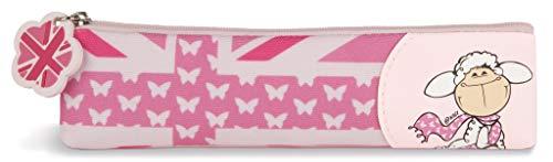 NICI 42818 Mäh 32 Flat Pencil Pouch Sheep Jolly Journey, 19.5 x 5 cm, Pink