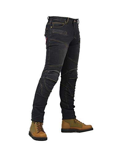 YOUCAI Denim Motociclo Biker Pantaloni Jeans Rinforzato con Protezione Fodera per Uomini Donne,XXL,Nero