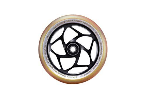 Blunt Stunt - Rueda para patinete (120 mm - 24 mm de ancho, núcleo de tres rodamientos dorados, PU/negro)