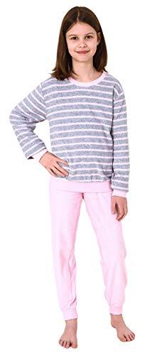 Mädchen Frottee Pyjama Langarm mit Bündchen Schlafanzug mit Herz - Motiv - 65498, Farbe:grau, Größe:158-164