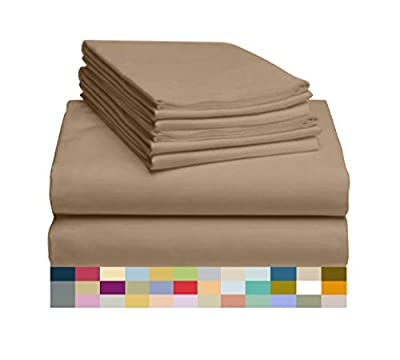 """LuxClub 6 PC Sheet Set Bamboo Sheets Deep Pockets 18"""" Eco Friendly Wrinkle Free Sheets Hypoallergenic Anti-Bacteria Machine Washable Hotel Bedding Silky Soft - Dark Khaki Queen"""