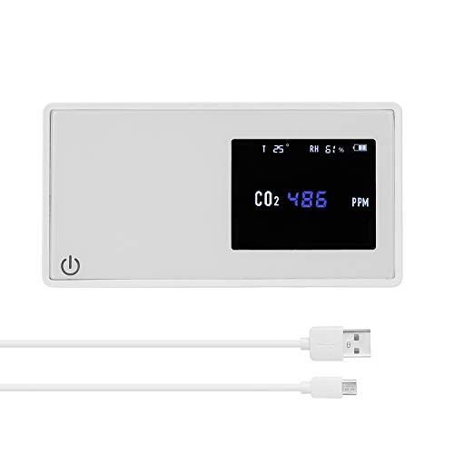 KKmoon CO2 Messgerät Hohe Präzision CO2 Kohlendioxid Detektor CO2-Tester Haushalts Luftqualitätsdetektor mit Strom Menge Temperatur Luftfeuchtigkeitsanzeige für Heimgebrauch