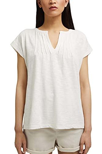 ESPRIT T-Shirt mit Biesen, 100% Bio-Baumwolle