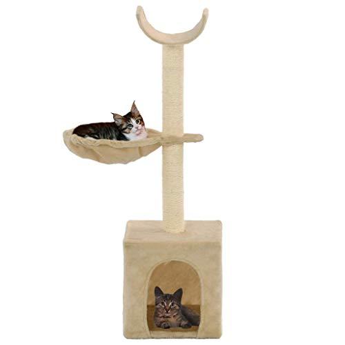UnfadeMemory Árbol para Gatos de Pared,Rascador para Gatos con 1 Cesta y 1 Casita y 1 Plataforma Curvada,Postes Rascadores de Sisal 105cm (Beige)
