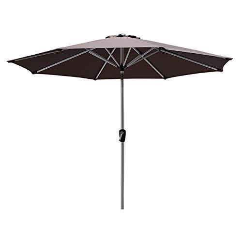 Parasol Umbrella Sombrilla de Jardín, Acero de 2,6 m / 8,5 Pies con Manivela, Parasol Compacto para Patio Al Aire Libre (Color : Brown)