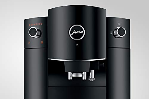 Jura D6 Automatic Coffee Machine, 1, Black 6 ONE TOUCH: Prepare 7 barista quality specialties including espresso, coffee and cappuccino at the touch of a button PERFECT ESPRESSO: Ultimate coffee quality thanks to JURA's exclusive Pulse Extraction Process CONICAL BURR GRINDER: Fast and precise AromaG2 grinder grinds whole beans to the optimum fineness