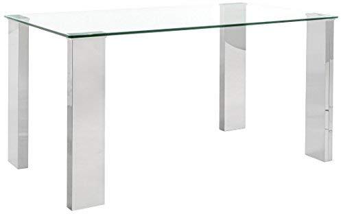 BIZZOTTO Arley Tavolo, MDF/Acciaio Inossidabile/Vetro Temperato, Trasparente, 140 x 80 x 74 cm