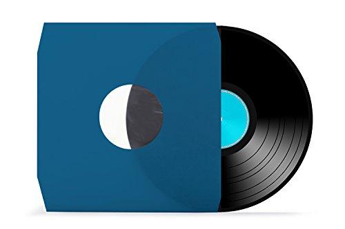 100 Stück | 12' | Schallplatten | LP | Vinyl | Innenhüllen | Eckschnitt | gefüttert | antistatisch | blau | 80 gr./qm | xi-media ®
