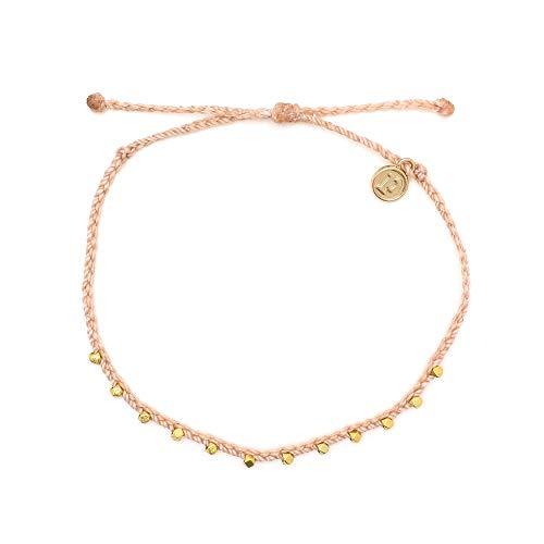 Pura Vida Gold Stitched Beaded Anklet Blush - Waterproof, Artisan Handmade, Adjustable, Threaded, Fashion Jewelry for Girls/Women