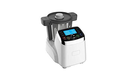 Robot de Cocina Multifunción MNR 2020. Capacidad 2L, Temperatura ajustable hasta 120ºC, Velocidad ajustable hasta 9.000 rpm, Incluye 6 accesorios, Jarra en Acero Inoxidable, más de 120 recetas, 1500W