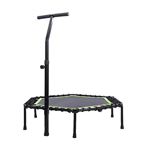 Trampoline Fitness Adulte Jumping Trampoline Portable Trampoline de Fitness avec Barre de Maintien réglable pour entraînement à Domicile, Système de Corde élastique renforcée - 48 Pouces
