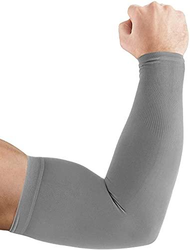 Ruiuzi Brazo Largo Enfriamiento Brazo Mangas Protección UV para Guantes Hombres Mujeres Niños Bloqueador Solar Protector Correr Golf Ciclismo Conducir (Gris, sin Dedo)