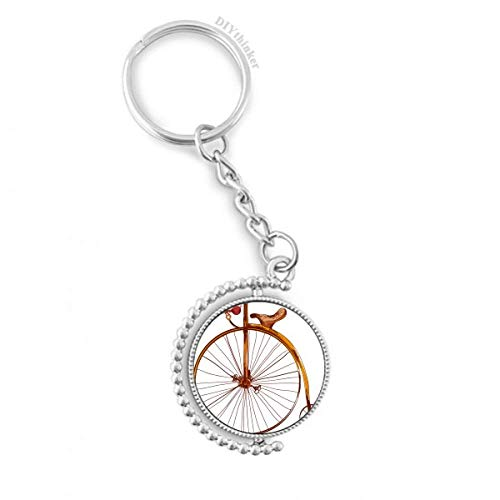 DIYthinker Altertümlich Fahrrad High Wheeler Britannien Drehbare Schlüsselanhänger Ringe 1.2 Zoll x 3.5 Zoll Mehrfarbig