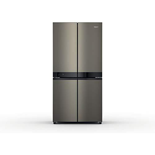 Hotpoint HQ9U1BL Four Door American Fridge Freezer - Black & Stainless Steel
