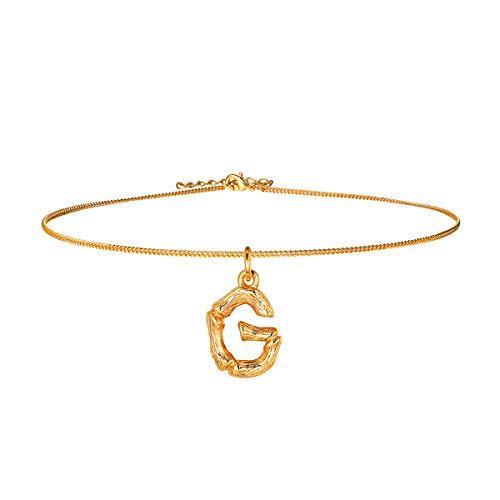 FOCALOOK Anhänger Halskette Frauen Gelbgold überzogend Initiale Choker Kette Schmuck kleine Buchstabe G für Mädchen 40cm verstellbar Ankerkette Bambus Stil Women Necklace